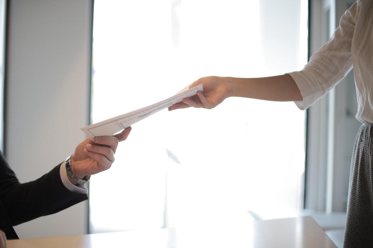 handing documents over