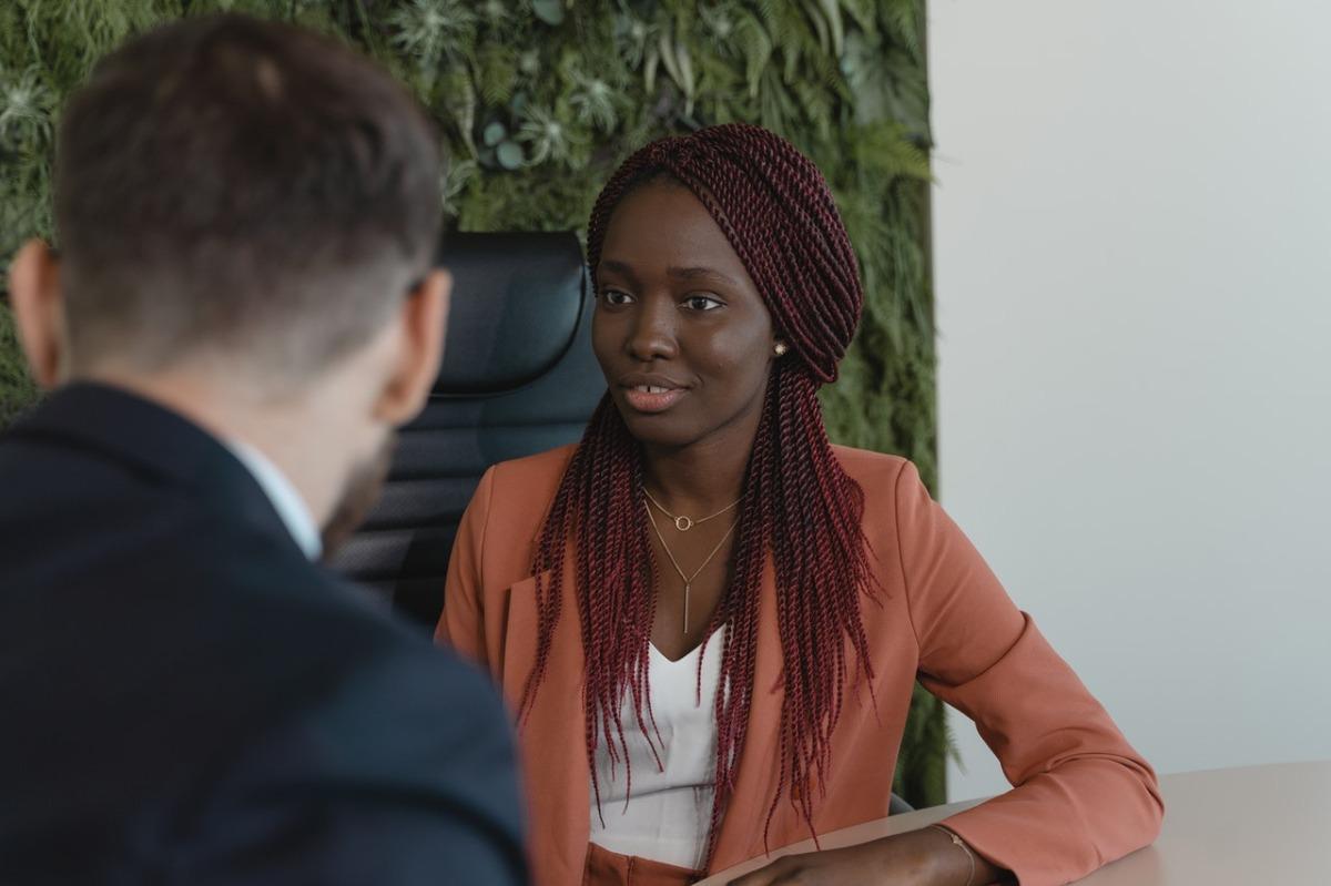 woman doing an interview